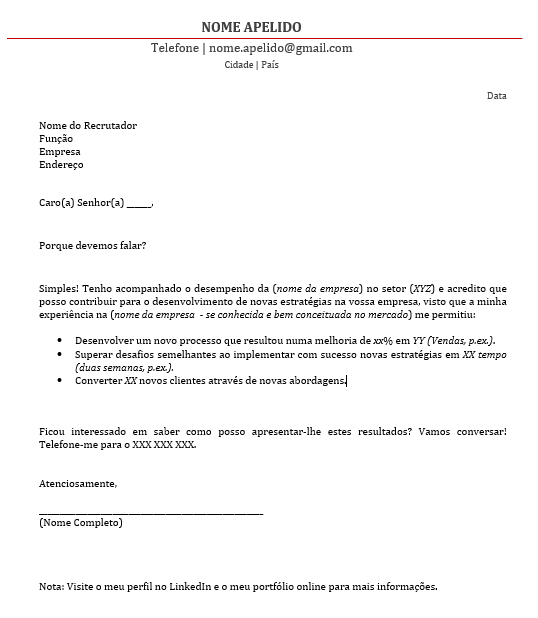 Carta de apresentação