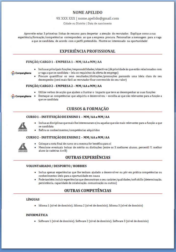 Modelo De Curriculum Vitae Modelo De Cv Alerta Emprego