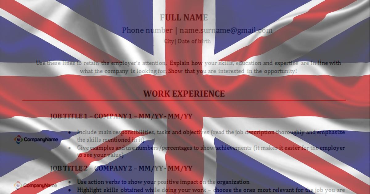 Modelo De Curriculum Vitae Em Ingles Alerta Emprego