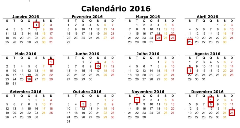 Feriados de 2016 calendário completo