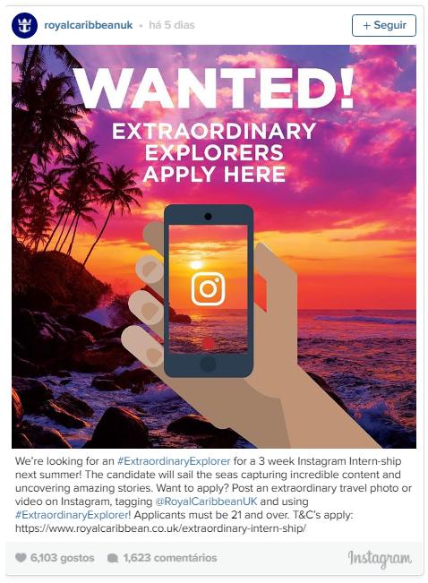 Anúncio emprego instagram